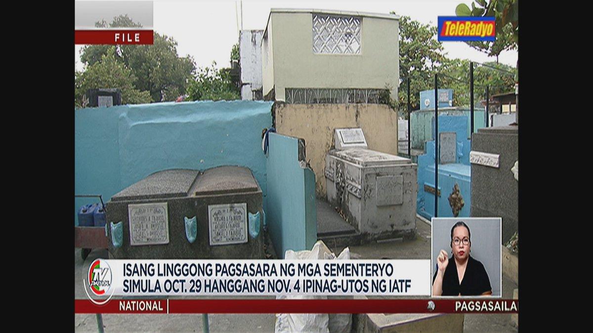 #TVPatrolLive Ipinag-utos na ng IATF ang isang linggong pagsasara ng mga sementeryo simula Oct. 29 hanggang Nov. 4