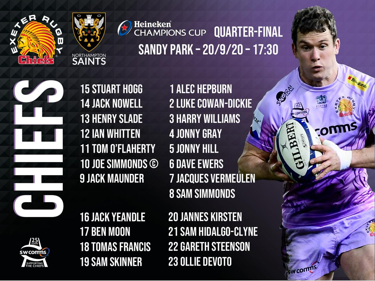 🏉 - TEAM NEWS: Here is the @ExeterChiefs side to face @SaintsRugby in Sunday's @ChampionsCup  quarter-final at Sandy Park (5:30pm) ⬇️  https://t.co/1BOLLssvTR https://t.co/8mWrmES7oJ