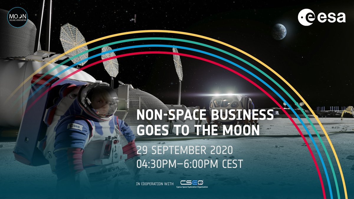 The ESA #DownstreamGateway, @CyprusSpace and @MoonVillageAssn are organising an online seminar via FB Live on 29 September, 16:30-18:00 CEST, to talk about opportunities and challenges for non-space industries in contributing to the 'Moon Village' development. We'll see you then! https://t.co/Fb7p6epGCB