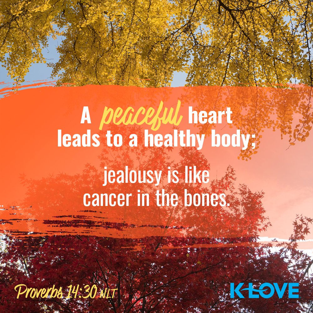 A peaceful heart leads to a healthy body; jealousy is like cancer in the bones. –Proverbs 14:30 NLT #VerseOfTheDay #Scripture https://t.co/SpDzCyc84H