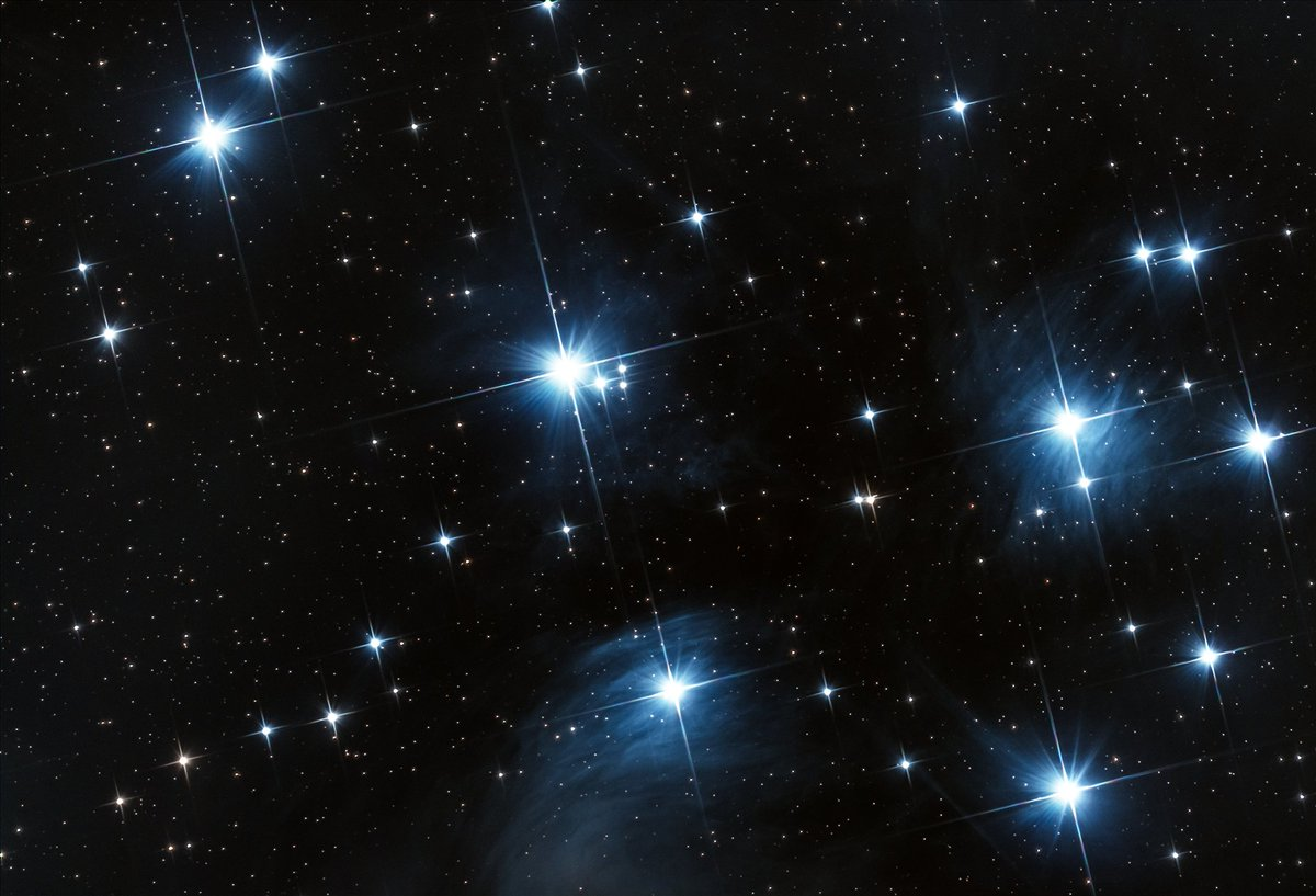 M45 - The Pleiades or the Seven Sisters or the Suburu logo. I want more dust, so will chuck more time on this!  #Astrophotography #m45 #cluster #Skywatcher #200pds #IDAS #ASI294MCPRO https://t.co/9xAqnZuUfs