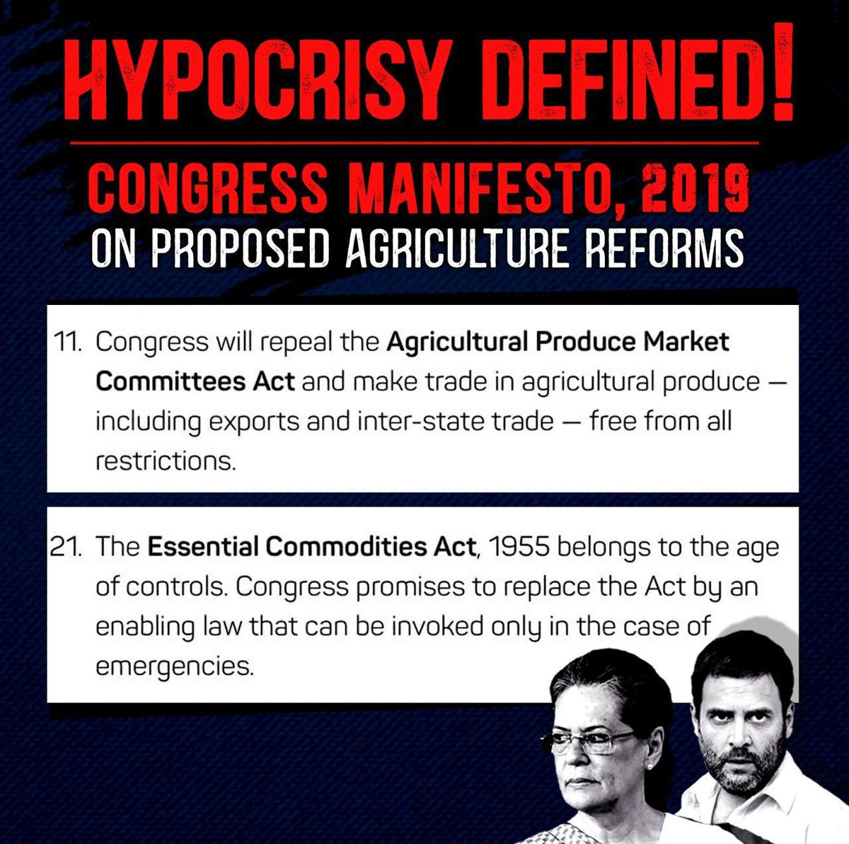 This is indeed Hypocrisy defined. Friends take a look at the Congress Manifesto,2019 on proposed Agricultural Reforms!! #JaiKisan