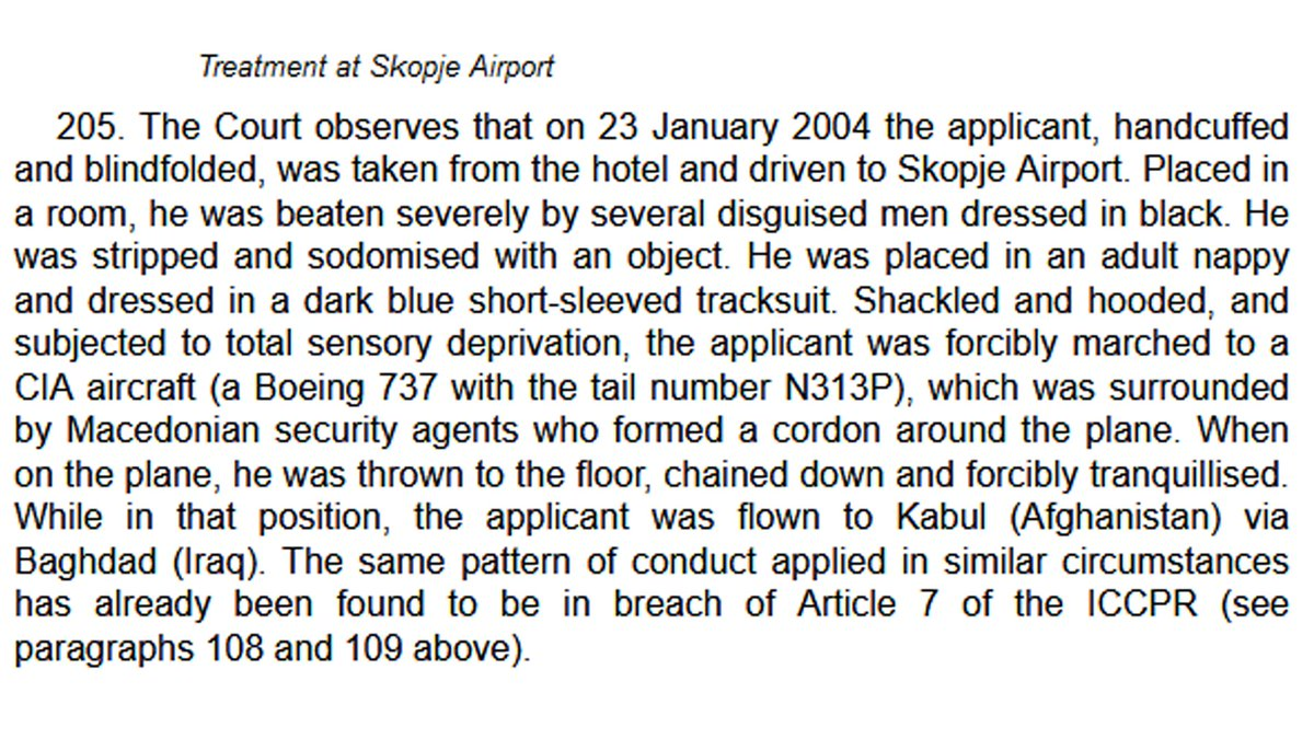 Warning (graphic detail).  This is just one paragraph on how the CIA tortured Khaled El-Masri. The European Court of Human Right found the CIA  had tortured El-Masri, violating the European Convention and held Macedonia responsible.  https://t.co/4OpW61fSLX https://t.co/qkVFPmPlZc