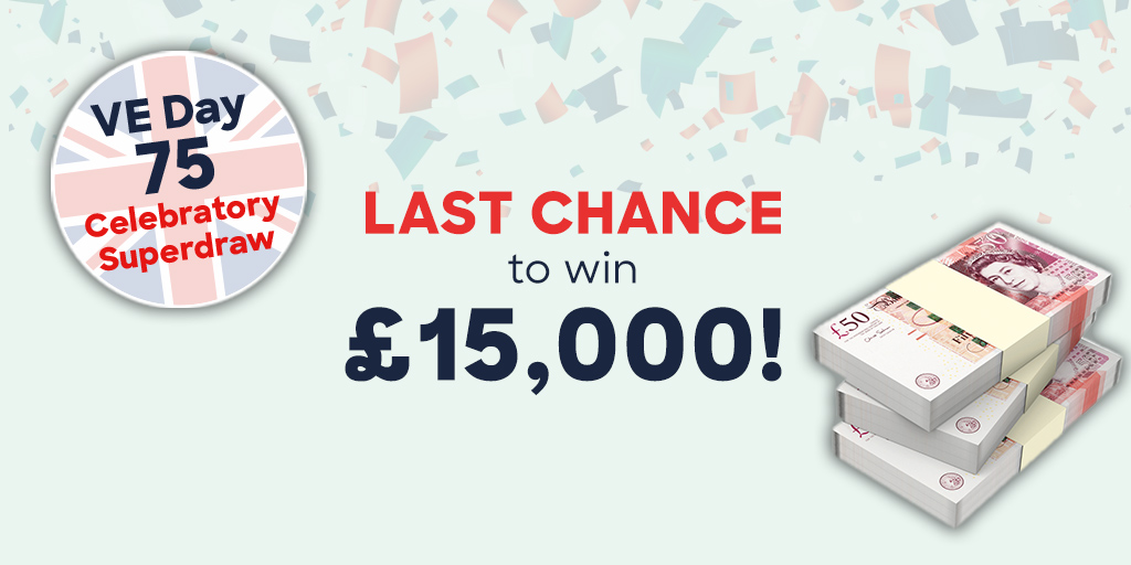 There are just seven days left to be in with the chance of winning £15,000 by entering our #VEDay 75 Superdraw.  Remember - by playing you are helping us help #blindveterans across the country.  Play today: https://t.co/iUaFJTDUm0  Good luck! https://t.co/o9myp124NX