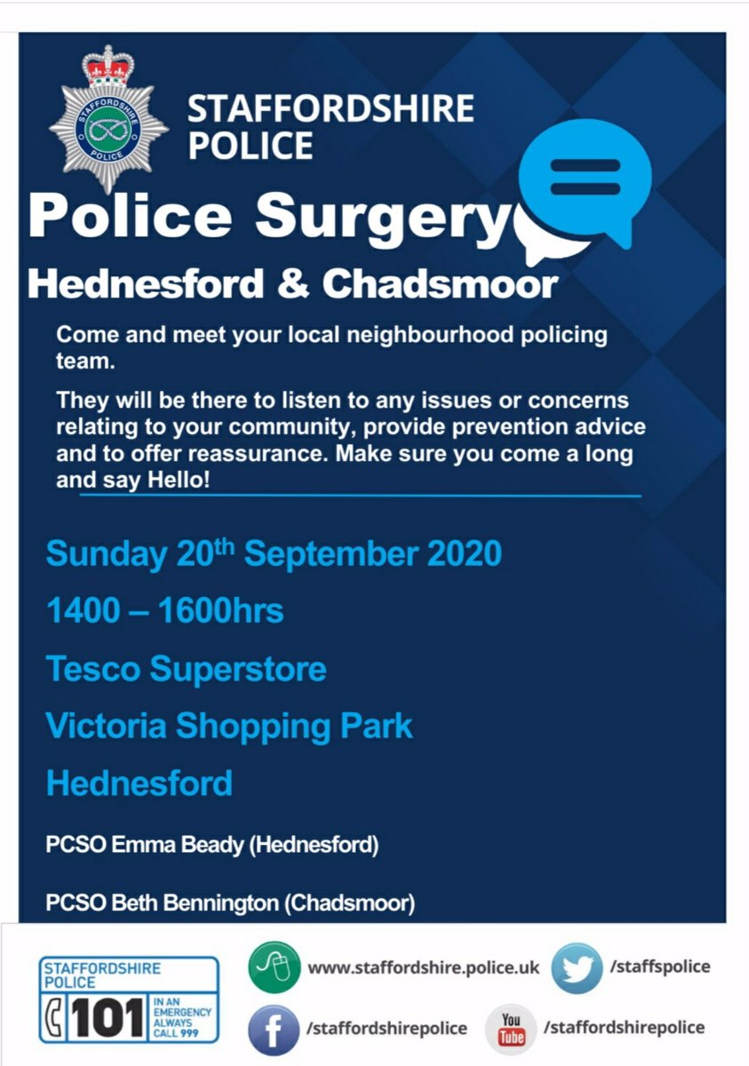 COMMUNITY ENGAGEMENT | The local PCSOs of Hednesford and Chadsmoor will be in the foyer of Tesco, Hednesford on Sunday 20th September 1400-1600hrs. Please feel free to come and chat about any community issues or concerns 😊 👮 https://t.co/4IODiKj29Y