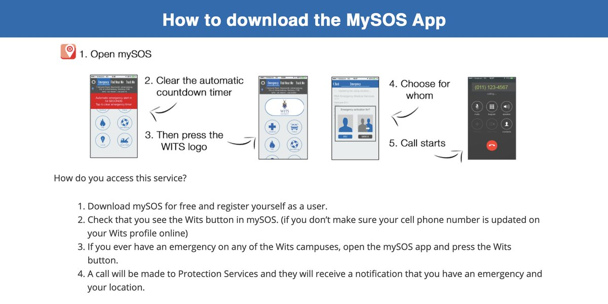 📲🆘 CAMPUS SAFETY: Once you have successfully downloaded the mySOS app on your mobile device, just press the Wits button and a call will be started to Protection Services. Please read the guidelines below and if you have more questions please visit: https://t.co/UpmiidBQeI https://t.co/Dlc4tnN8H6