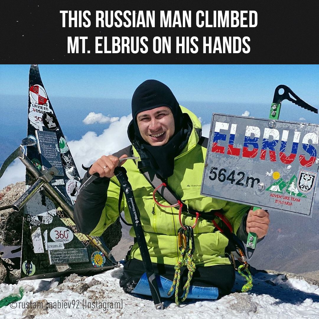 🏔Legless Rustam Nabiev from Russia has climbed Mount Elbrus, Europe's tallest mountain, on his hands. The 13 km climb took him 15 hours shuffling all the way. Rustam reached the peak at more than 5,600 metres unaided, along with a backup safety crew. https://t.co/emDPBxltxf