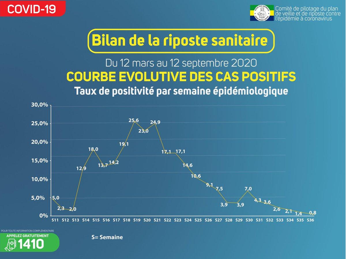 #Bilan des 6 mois de la riposte sanitaire : découvrez la courbe évolutive des cas positifs.   #mesuresbarrières #fightcovid19 #ensemble #copilcoronavirus #Gabon🇬🇦 https://t.co/DxGm6vKKTC