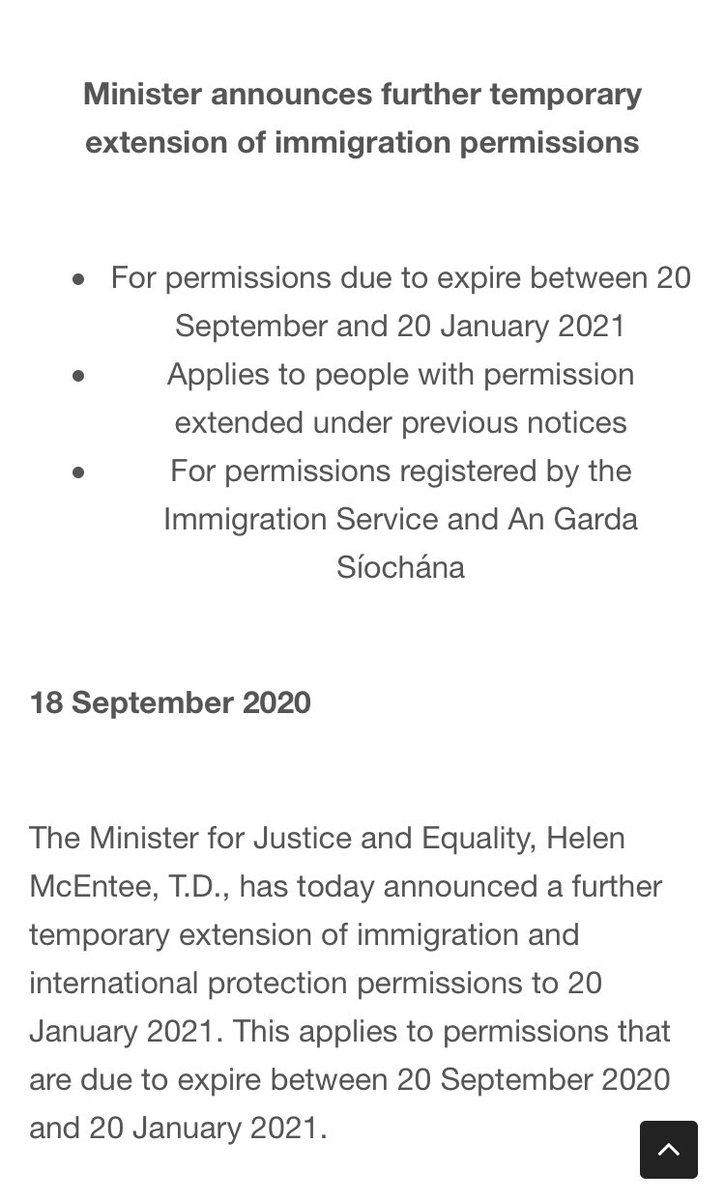 UPDATE: extension of immigration permissions until January 2021.  Good news for non EEA migrants & thankful to see that a longer extension is in place but the last minute nature (less than 1 working day) has caused a huge amount of stress. @DeptJusticeIRL need to do better. https://t.co/N7L8Ssj3hg