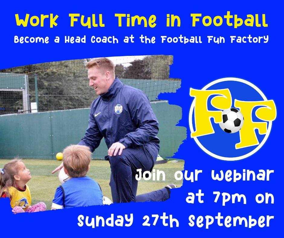 ⚽ WORK FULL-TIME IN FOOTBALL: Have you ever wanted to run your own business with a better work/life balance whilst doing something you are truly passionate about?  Join our 'Become A Head Coach' webinar to find out more!  Register via the link -https://t.co/hcqwkyGaxq https://t.co/YOxRyoULbr