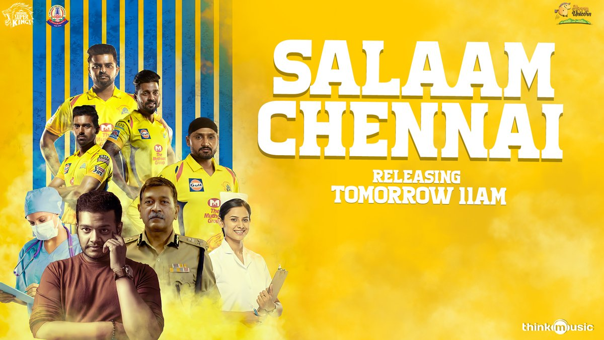 #SalaamChennai from Tomorrow 11 AM !!  A salute to the relentless covid warriors by @chennaipolice_ & @ChennaiIPL !!   @Avinaash_Offi @GhibranOfficial @dop_sudarshan @lyricist_kN @copmahesh1994 @ImRaina @harbhajan_singh @mvj888 @Lbalaji55 @deepak_chahar9 https://t.co/YUq5nevcRZ