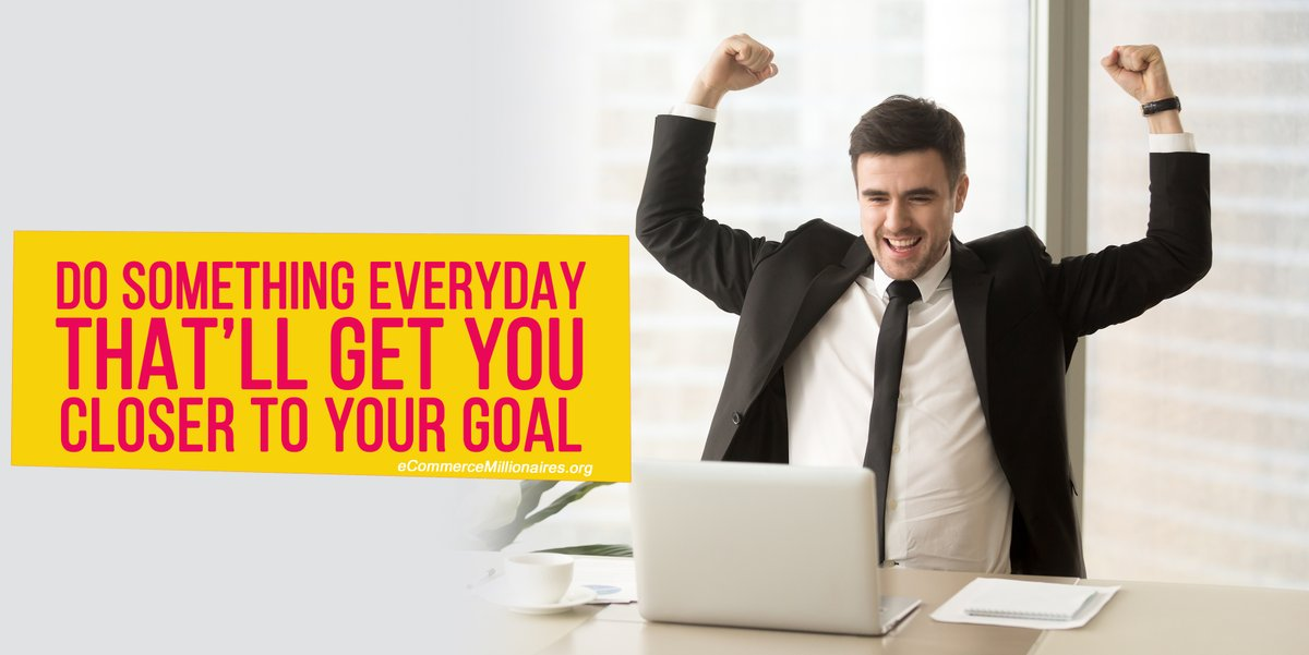"""Do something everyday that'll get you closer to your goal"" #ecom_millionaires #todaymotivation #Motivation #businessman #motivational #fit #businesswoman #hustle #business #lifequotes #grind #beautiful #moneymaker #success #determination #succeed #inspiration #quotes #lifestyle https://t.co/R764wbzmQC"