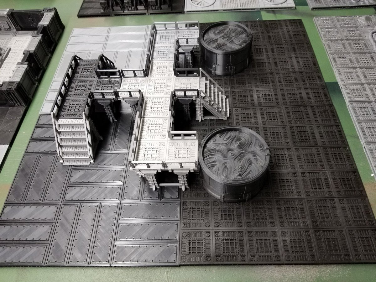 Customer prints using all Corvus pieces including the floor tiles! From the Sector Corvus Prime kickstarter and the Chemworks modular set. #3dprint #terrain #warmongers #40k #necromunda #wargaming https://t.co/PM1xnYp7dR