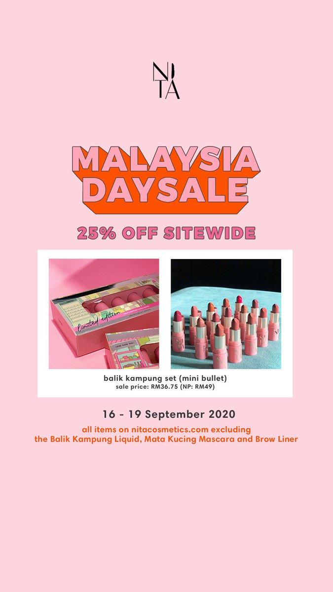 @liyanakma Hi awak! Nita cosmetics ada Malaysia Day Sale sampai esok!!! 😚 Nita Cosmetics produk tempatan! Kami ada foundation,lipsticks,powder & makeup remover! Check out my Instagram untuk maklumat lanjut ❤️  https://t.co/Fu13GDSdfs https://t.co/PEDVjhB5Jx