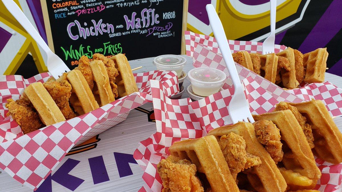 OMG y'all. This chicken and waffle kabob is GLORIOUS!!!!!!! @TheKingKabob knows how to make a hungry guy happy!!! @GoodDayAtlanta #fox5atl #FoodTruckFriday https://t.co/OzT8yU5wfj