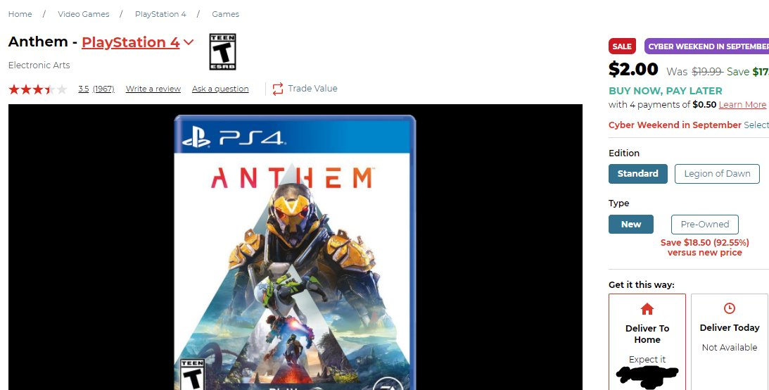 CouchTeamGaming - Anthem is on sale at GameStop for $2.