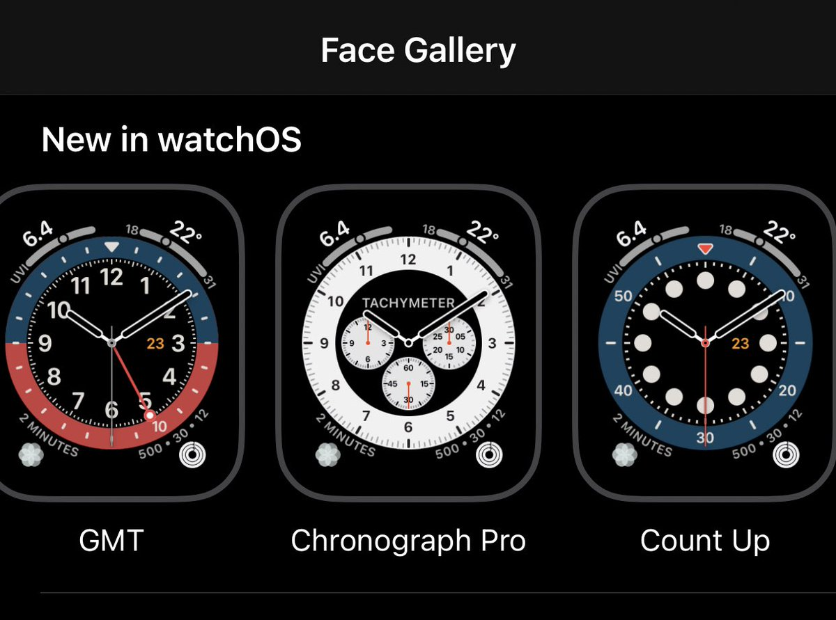 """""""Major"""" bug of 14.2 Beta 1: All the cool new watch faces are gone, only these three are left. If your AW is on watchOS 7 you still have them but only on the watch. Keep this in mind if you want to update to either 14.2 or 7.1, fortunately my Watch didn't update https://t.co/0pjRYGwYIX"""