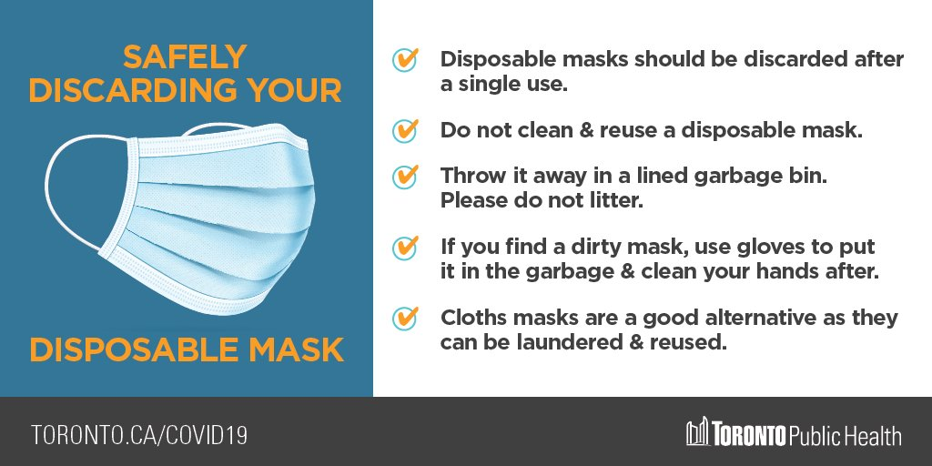 Wear your mask to help keep everyone safer indoors & when you cannot maintain your physical distance from others outdoors. If wearing a disposable mask, please be sure to discard it properly in a lined garbage bin. More info: https://t.co/zov8RhbXJl https://t.co/pmfnfCuxnY