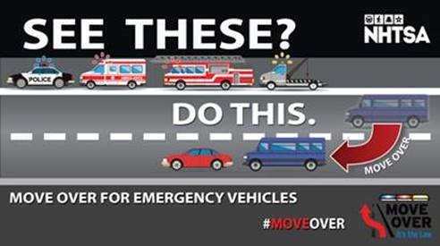 When you are on the road, please remember to #MoveOver for emergency vehicles. We all have a role to play in keeping our first responders safe. It's also the LAW! @NHSTAgov https://t.co/PH9Goe1Ges