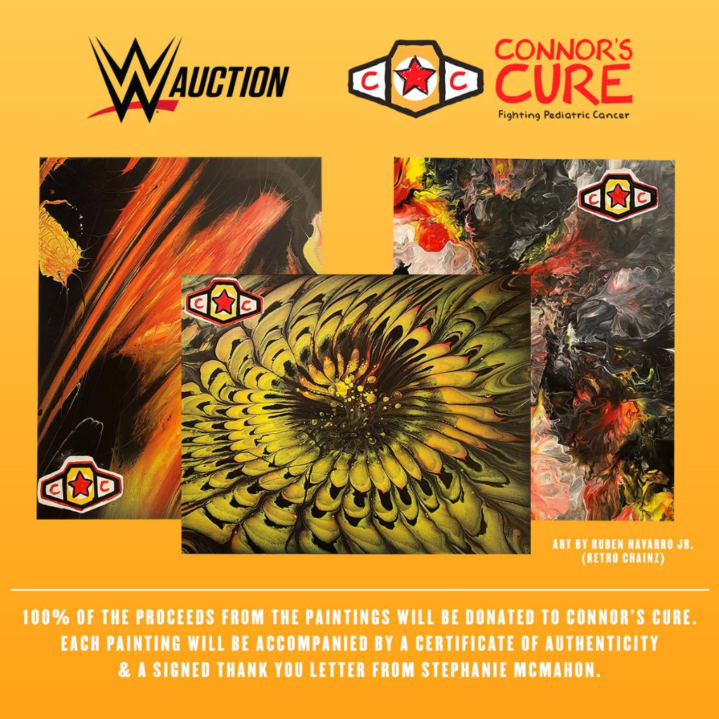 #WWE has partnered with #RetroChainz to create exclusive paintings for #ConnorsCure. Each painting will be accompanied by a Certificate of Authenticity & a signed thank you letter from @StephMcMahon. Head to https://t.co/ho6nxxG1t2 now to place your bid!   https://t.co/cfIppfZEAy https://t.co/cYIQXuGouh