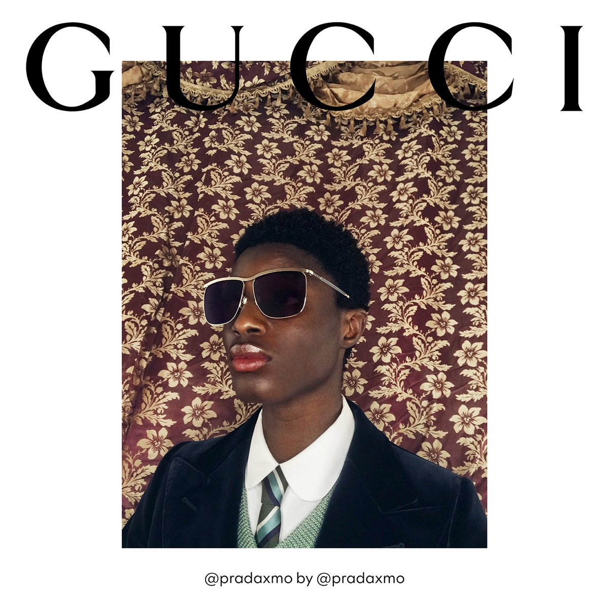 Square-shaped grey lenses are framed by thin gold-toned metal on a pair of new #GucciEyewear sunglasses seen in an image from #GucciTheRitual—the campaign with no script captured by models including #Molibo. Discover more https://t.co/5mICt8EKMG. #GucciFW20 #AlessandroMichele https://t.co/nGK4UEl0uL