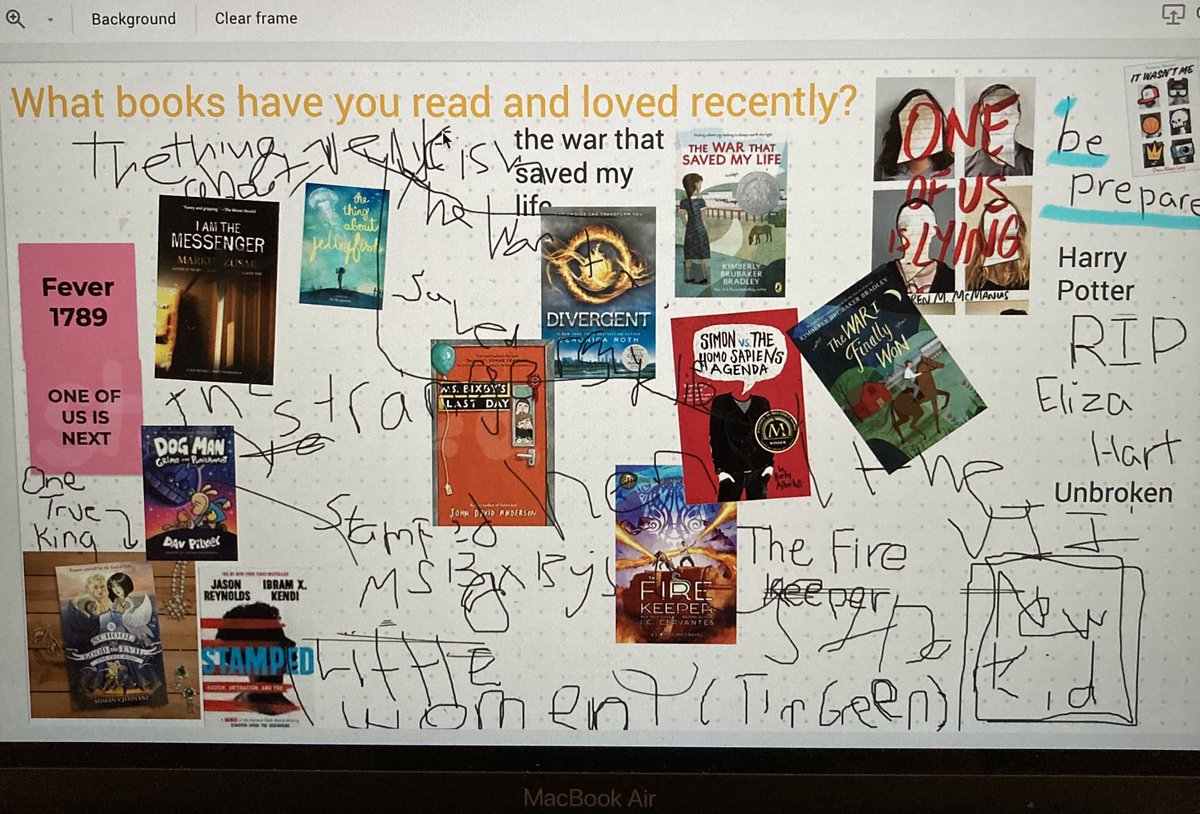 I miss the student book recommendations on our Learning Commons interactive whiteboards, but 7th grade English classes made a pretty lively replacement on this #jamboard today! Lots of great book suggestions at https://t.co/PiKEjYZUSr! https://t.co/HKxFpgZ1nE