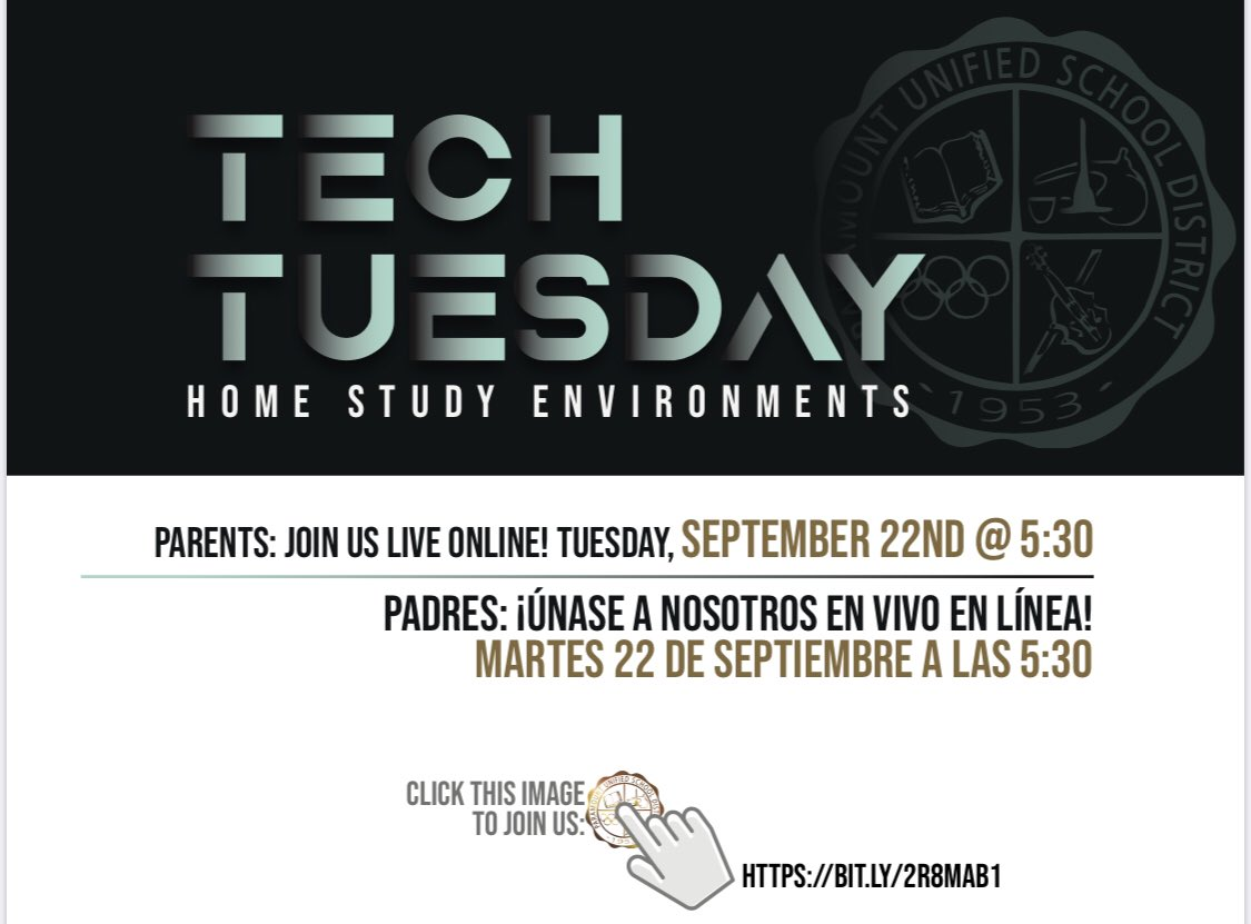#TechTuesday > #TacoTuesday  Please join us for our next live webinar event on 9.22 at 5:30! The topic will address setting up a home study environment. For more details and link to join, click here: https://t.co/Ier0XusEYd https://t.co/lif43Q2Lyc