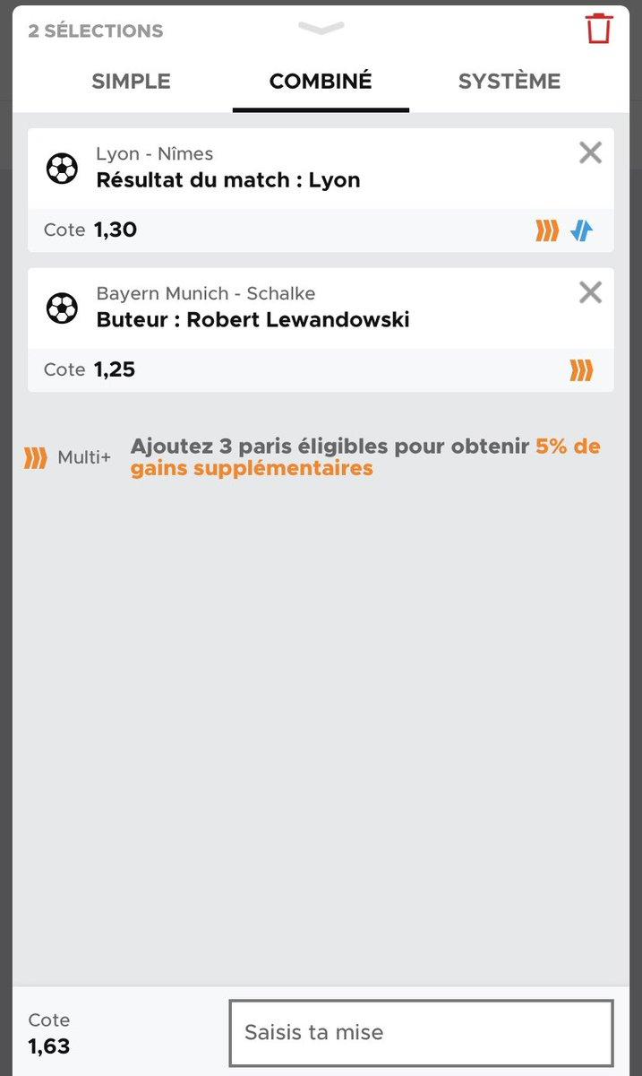 Première confiance avant de vous envoyer la NBA 🔥  Lyon doit se racheter après le nul face à Montpellier + possibilité de distancer Paris et rattraper Marseille.  Lewandowski est en pleine confiance et en pleine forme, il devrait planter ce soir pour son premier match !  Gooo ! https://t.co/EEznt6dTBf