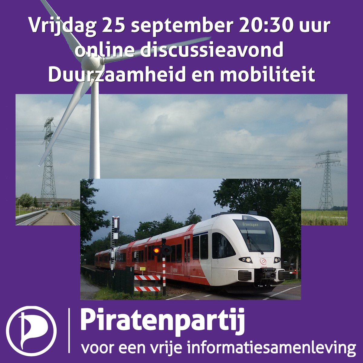 Vrijdag 25 september 20:30 uur online discussieavond over Duurzaamheid en mobiliteit  #discussie #piratenpartij #piraten #duurzaamheid #mobiliteit  https://t.co/yxLgXUxsdR https://t.co/qRzDY3Zm9v