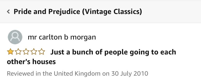 Interesting 1* review of Pride & Prejudice on Amazon 🧐