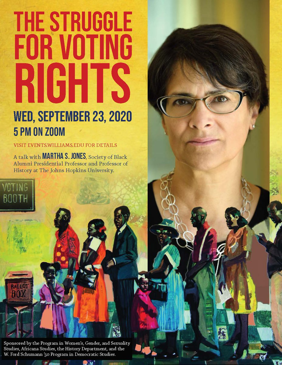 """9/23: Martha Jones, """"The Struggle for #Voting #Rights."""" @marthasjones_ . Info including Zoom link to join the event: https://t.co/qZPS6mPQoB https://t.co/Qpti6xMA4C"""