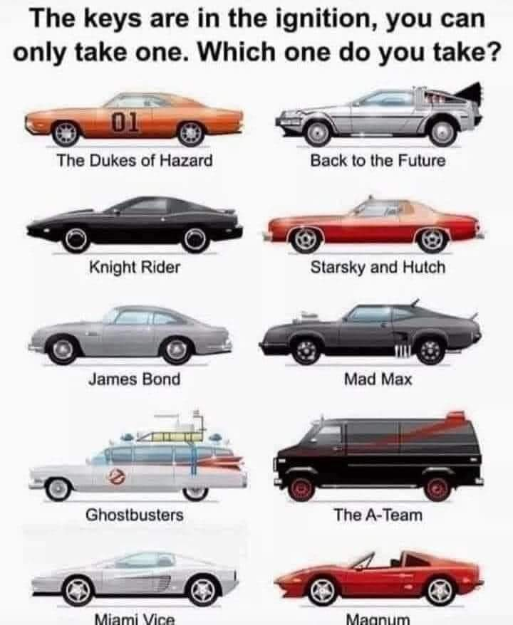 Tough decision 🤔  Gut says take KITT but just look at that Aston Martin https://t.co/ANy8DLQftu