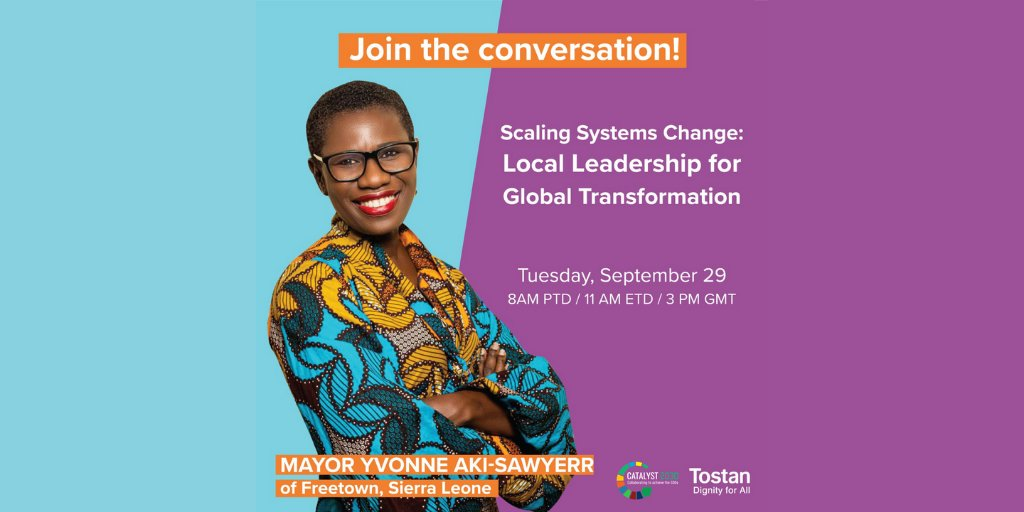 @yakisawyerr will be the panelist of the #webinar Tostan is hosting on 09/29! Yvonne Aki-Sawyerr was sworn in as Mayor of #Freetown 🇸🇱 in May 2018 with a commitment to #TransformFreetown using an inclusive, data-driven approach.   Register and share 😉 https://t.co/XKA09e8iZ3 https://t.co/lqkhuFOdjQ