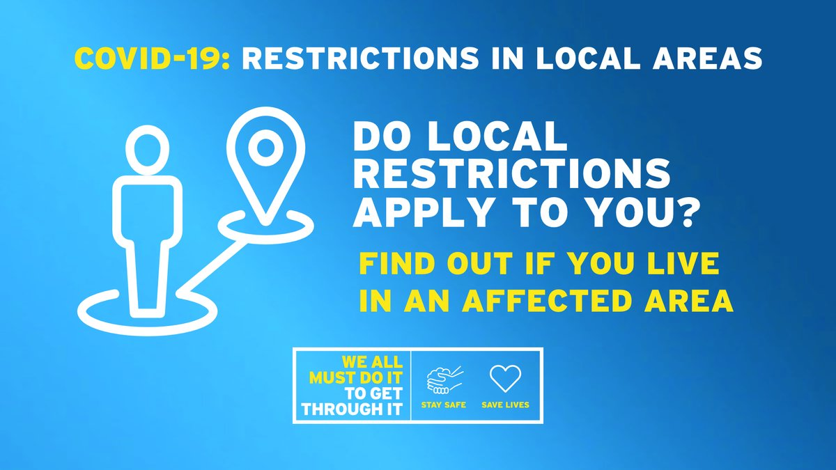 Following the increase in coronavirus #COVID19 cases, localised restrictions have been introduced in certain areas. Find out whether this affects you at: nidirect.gov.uk/coronavirus-lo… #StaySafeSaveLives