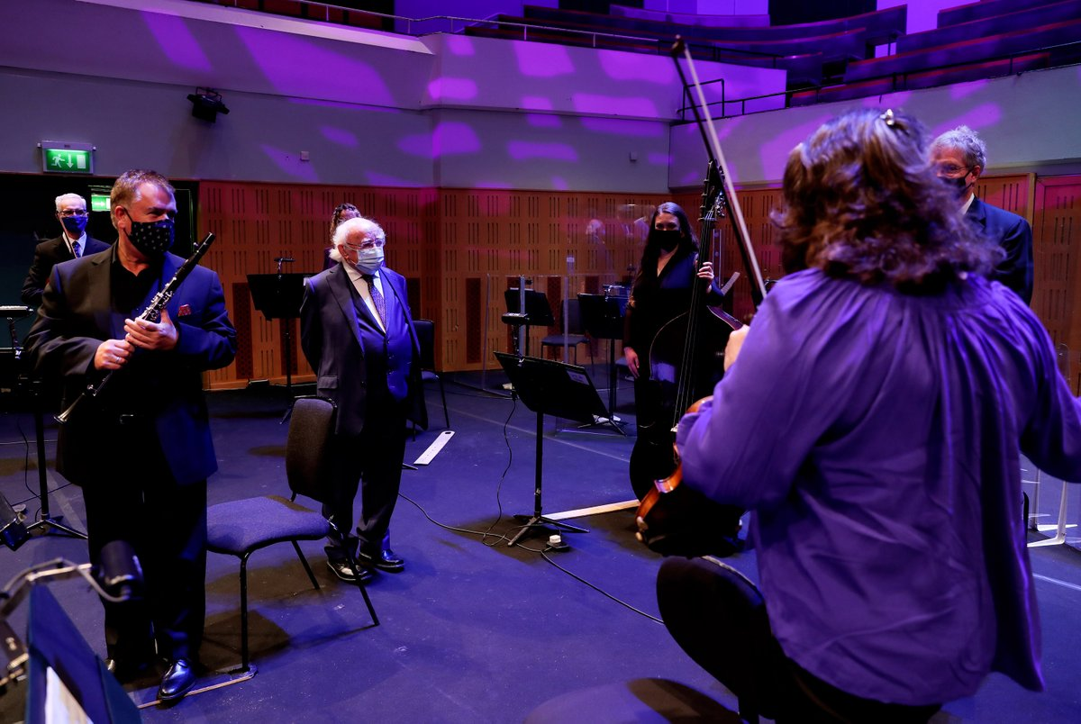 Photos: President Higgins meeting members of the @RTE_NSO, ahead of this evening's 'RTÉ National Symphony Orchestra Live' virtual event at the National Concert Hall.  See https://t.co/EvHup1pTub #CultureNight https://t.co/reoh0IPxlo