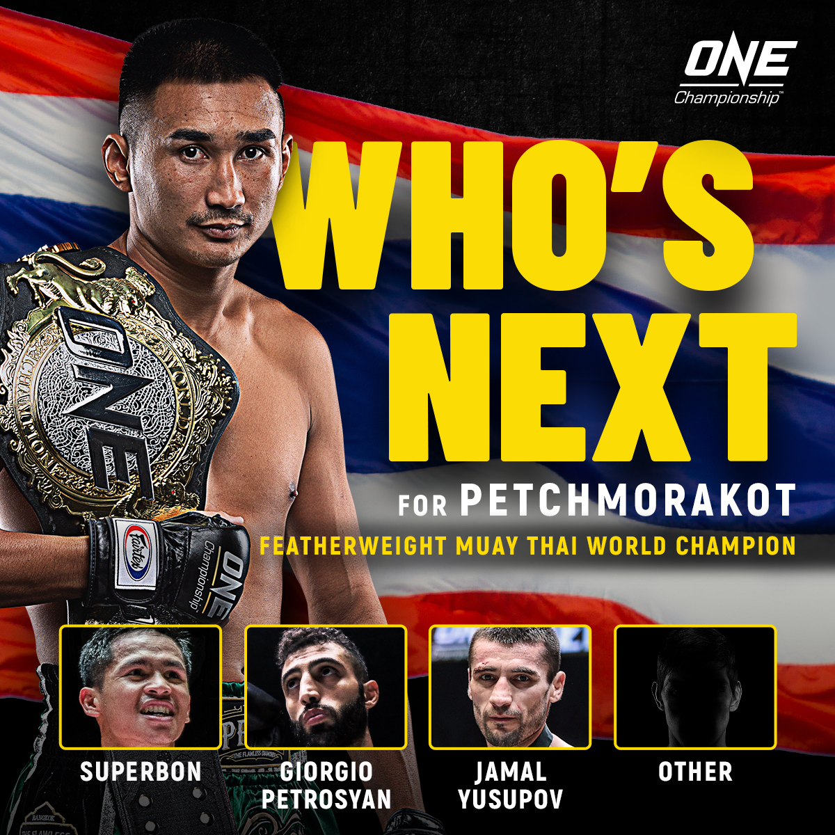 Who's NEXT for ONE Featherweight Muay Thai king Petchmorakot? 👑 #ANewBreed3 #WeAreONE #ONEChampionship https://t.co/QPHPxZIZbK