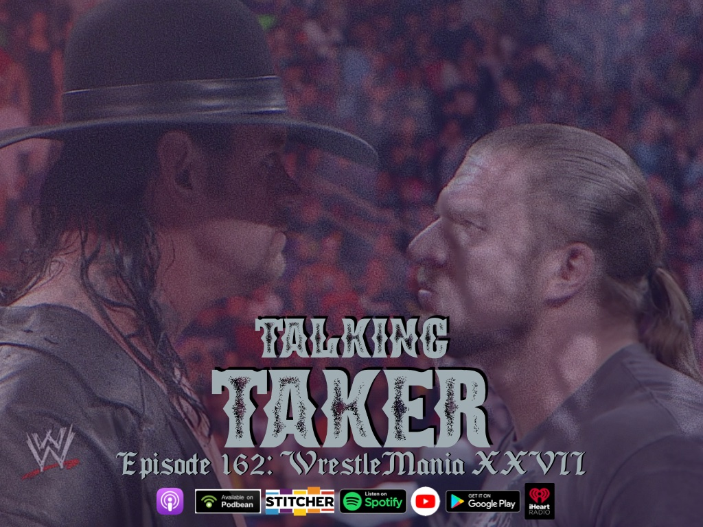 """Ain't no grave, can hold my body down..."" The Undertaker rises from the grave to face his biggest Streak challenge yet - Triple H at WrestleMania 27! And we were there for it! We kick off The Last Outlaw era on this week's Talking Taker podcast! https://t.co/FNOU4gvmKm https://t.co/j2KwmHBbid"