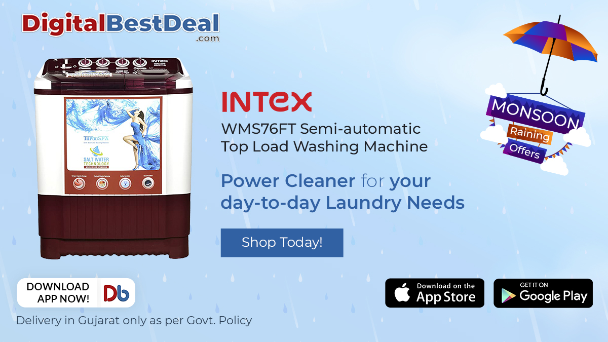 The new #Intex Semi-automatic Top Load Washing Machine is tough on stains and gentle on your clothes. Give your clothes a spa therapy and get more special offers this Monsoon with @DigitalBestDeal! https://t.co/JikmQxaD6Q #washinmachines #monsoonseason #shoppingday https://t.co/osSTx2TXCi