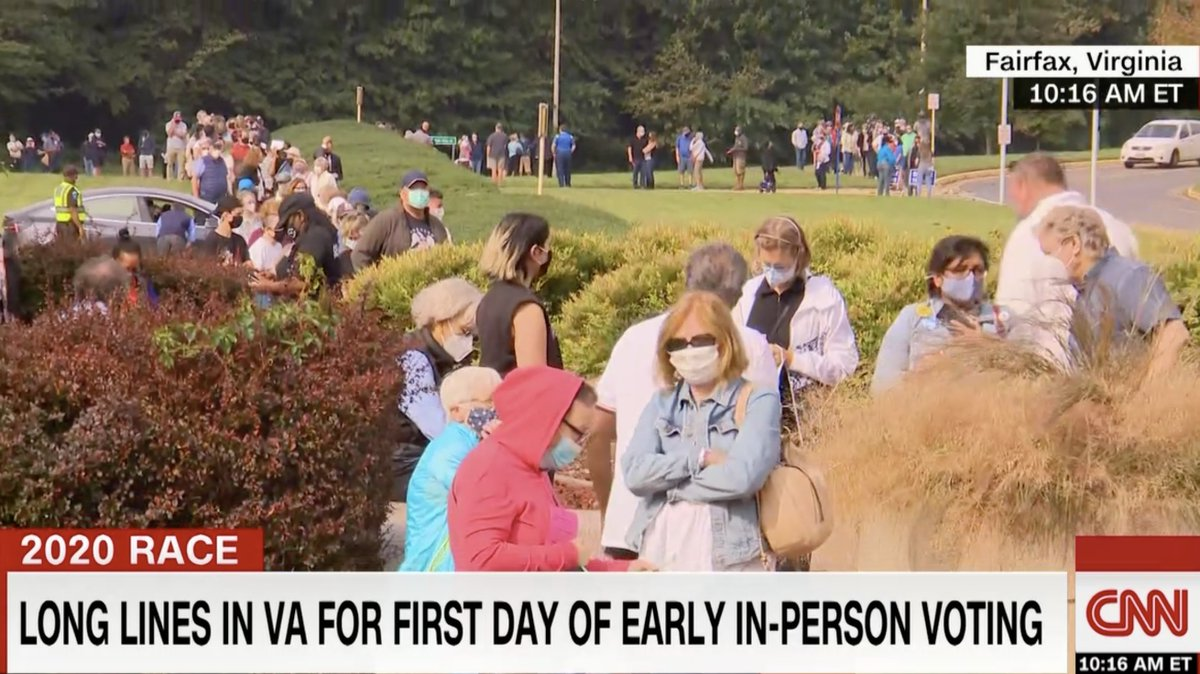 Massive line of voters in Fairfax, Virginia, on the FIRST DAY of in-person early voting. Some voters say they showed up because they lost faith in USPS to deliver ballots. Officials tell CNN they've never seen anything like this on Day One. https://t.co/uFDSfMINWX