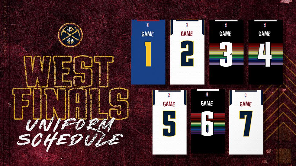 West Finals uni schedule for the @nuggets #uniswag