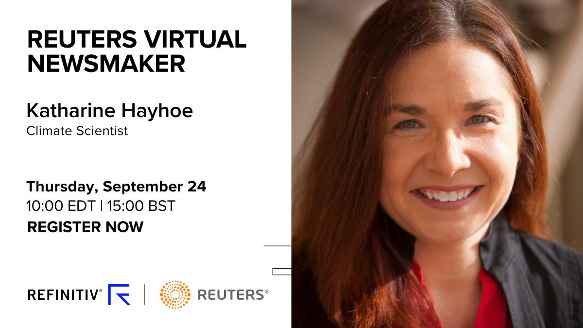 Climate scientist Katharine Hayhoe will join @Reuters to discuss climate change, our ability to tackle the challenge and whether society can adapt to a warming planet. Register for this virtual event: https://t.co/unwTloDCbk https://t.co/cJQpRhDQTY
