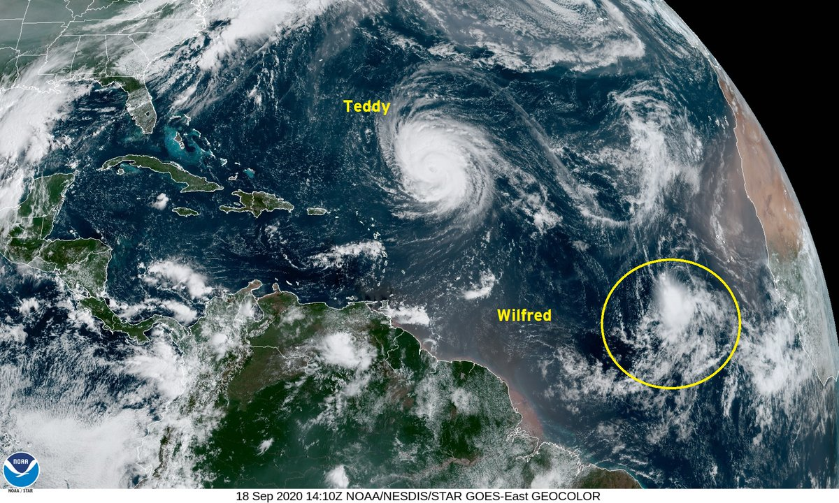 That's it for the Atlantic tropical storms list for 2020.  Tropical Storm Wilfred out in far eastern Atlantic (no threat to land).    TD-22 when named in Gulf of Mexico will be Tropical Storm Alpha  First named in 1950, storms were Able, Baker, Charlie, Dog, Easy, Fox, George ... https://t.co/qQAtF6wiTm