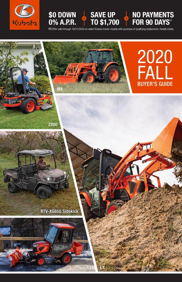 Shop special offers on all our top products for fall – tractors, RTVs and more – in our 2020 Fall Buyer's Guide.  Kubota 2020 Fall Buyer's Guide Midwest https://t.co/ymrYQTzSBS   #kubota #agriculture #tractor #farm https://t.co/OvquYNlNqp
