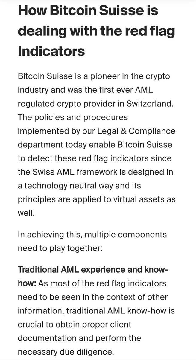 """""""How Bitcoin Suisse is dealing with the red flag indicators"""".  Some insights from an exchange's point of view.  Publicly supporting the FATF and chain surveillance is not supporting #Bitcoin https://t.co/bXfT1Z8r5k"""