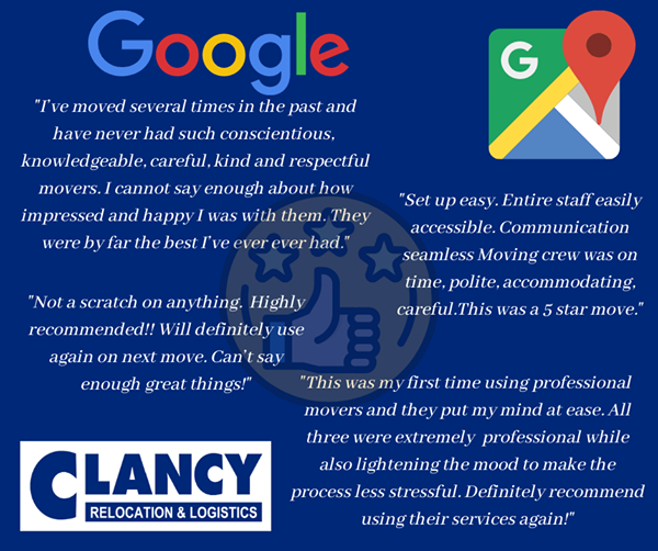 Our latest #Google reviews speak for themselves! Clancy Relocation & Logistics is #knowledgeable #careful #kind #respectful #polite #ontime #accommodating #professional #fivestar #MoveClancy #ClancyRelocation #AwardWinning https://t.co/hMW9wmHeGx 800-836-0331 https://t.co/LohXDWSygw