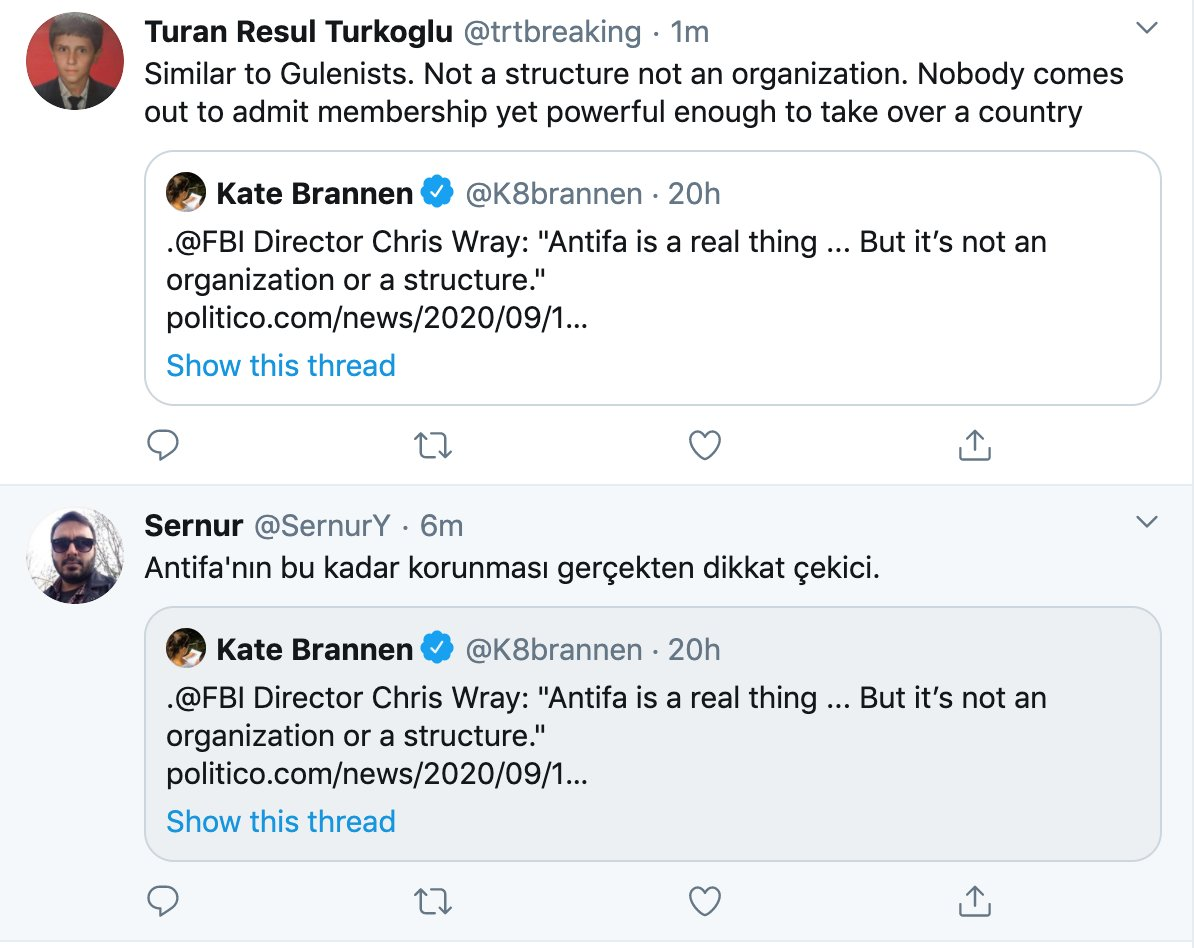 Odd coincidence. 🤔 Two Turkish accounts going after Antifa within 5 mins of each other. Equating it to the Gülen movement in Turkey, which the Erdogan government blames for an attempted coup in 2016.