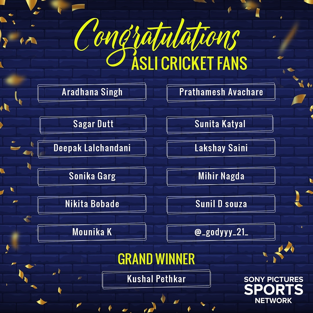 For us all the participants are #AsliCricketFans 🙌🏽  Congratulations to all the winners 👏🏼🥳  #AsliCricketFan #SonySports #ContestResults #CricketWithoutBoundaries https://t.co/Xwiyohmz8O