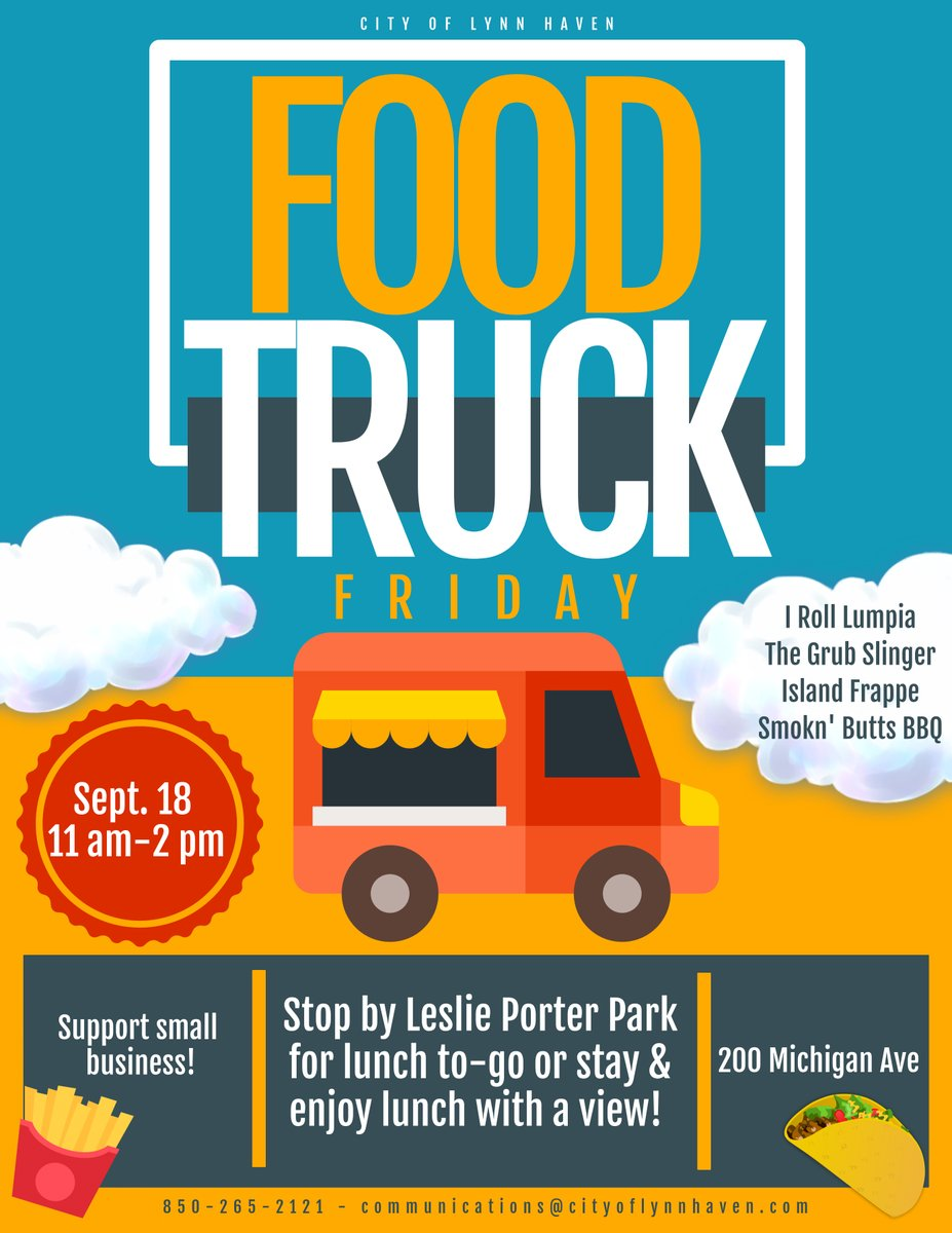 """Don't forget! Food Truck Friday today @ Porter Park! 11AM-2PM!  I Roll Lumpia The Grub Slinger LLC Island Frappe Smok""""N""""Butts BBQ  #FOODTRUCKFRIDAY https://t.co/3YOrAggUBl"""