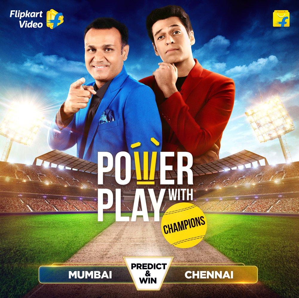 Players khelenge field pe @virendersehwag aur @samirkochhar khelenge set pe Aur India, aap khelo apni innings, ab ghar pe! #PowerPlayWithChampions, live now, only on the #FlipkartApp. https://t.co/vtwcRr5MDd  #Cricket #GameShow #PlayAndWin https://t.co/wXjrtm262Q