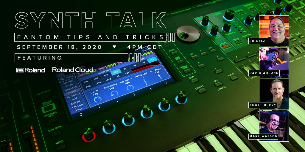 ▶️ Join us for a LIVE virtual round table! Roland Synth Experts David Ahlund, Scott Berry, Ed Diaz, and Mark Watson will be talking updates, demoing the deepest features, and showing you things only the pros know. Tune in! #FANTOM  🔴 Watch on YouTube: https://t.co/75sGKnWlUX https://t.co/pu6fRZHdn9